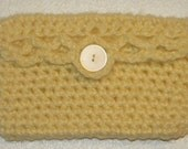 Yellow Crochet Wallet with Pearl Button