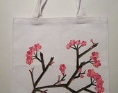 Painted Japanese Cherry Blossom Canvas Tote Bag