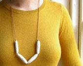 Contemporary Porcelain Necklace - Long Porcelain Tubes Necklace