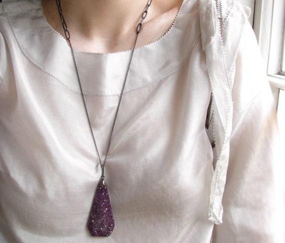 Long Stone Necklaces - Purple Lepidolite Necklace