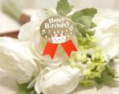 Gold Happy Birthday Stickers (10ea)