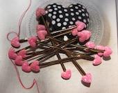 30 Sparkling Pink Heart ,Cello Bag Twist Tie
