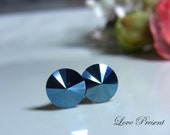 Grand Swarovski Crystal Stud Rock N Roll Metallic Button Earrings - Color Metallic Blue - Hypoallergenic or Metal post - Choose your post