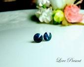 Swarovski Crystal Stud Button Cartilage Earrings - Color Indigo Blue - Hypoallergenic or Metal post - Choose your post