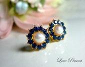 Kate Middleton Personalized Elegant Swarovski Crystal & Fresh water Pearl Stud Earrings - Gold Earrings Post - Wedding Prom Party Earrings