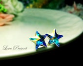 Supreme Swarovski Crystal Stud Super Star Earrings - Color Aurore Boreale - Hypoallergenic or Metal post - Choose your post