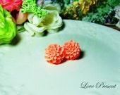 Grand Peach Pompon Daisy Flower Earrings Stud (Custom Made) - Offer different earrings post