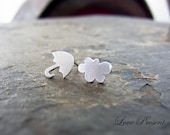 Christmas Promotion SALE - Twins Happy Petite umbrella and icloud earrings stud style Rihanna - 925 Sterling Silver Post