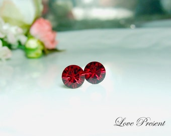 Swarovski Crystal Birth Stone Stud Earrings Post - Color Ruby for July - Hypoallergenic or Metal post - Choose your post