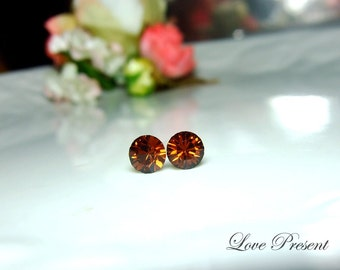 Swarovski Crystal Petite Stud Earrings Post - Minimal Simple Jewelry - Color Smoked Topaz - Hypoallergenic or Metal post - Choose your post