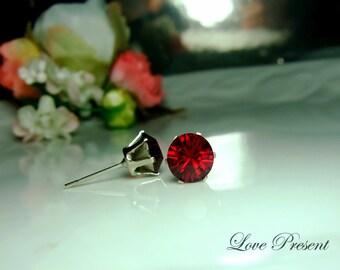 Swarovski Crystal 0.7cm Round Rhinestone Pierced Post Earrings - Modern Minimalist Jewelry for Everyday - Color Ruby for July