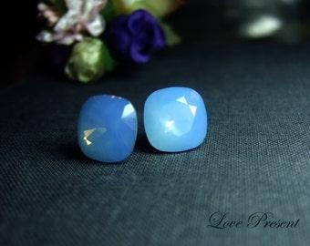 Grand Elegant Square Swarovski Crystal earrings stud style  (Custom Made) - Color Air Blue Opal