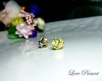 Elegant Swarovski Crystal earrings stud style Metal base (Custom Made) - Color Yellow Jonquil