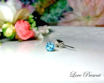 Swarovski Crystal 0.5cm Petite Round Rhinestone Pierced Post Earrings - Modern Minimalist Jewelry for Everyday - Color Aquamarine for March