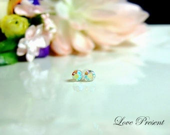 PIF - Swarovski Crystal Stud Tiny Teeny Little Mini Cartilage Earrings - Color Aurore Boreale - Hypoallergenic or Metal - Choose your post