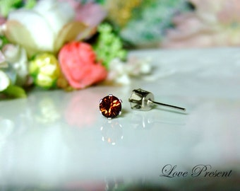 Swarovski Crystal 0.5cm Petite Round Rhinestone Pierced Post Earrings - Modern Minimalist Jewelry for Everyday - Color Smoked Topaz