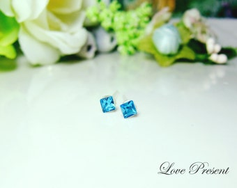 PIF - Swarovski Crystal Stud Tiny Teeny Square Cartilage Earrings - Color Aquamarine - Hypoallergenic or Metal post - Choose your post