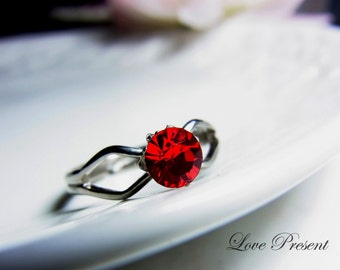 Black Friday Swarovski Crystal Solitaire 0.5 Carats Adjustable Ring - Choose your color