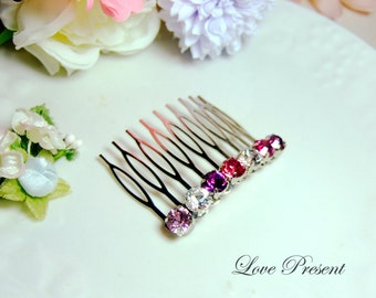 Extra Shine Hair Jewlery Comb with Swarovski Crystal - Bridemaids Gift Special - Choose your color