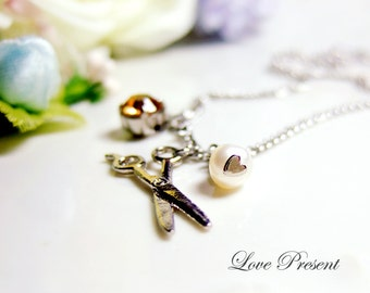 How to forget someone -  Necklace with Sparkly Swarovski Crystal and Fresh water Pearl