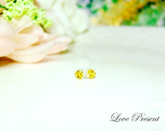 PIF - Swarovski Crystal Stud Tiny Teeny Little Mini Cartilage Earrings - Color Light Topaz - Hypoallergenic or Metal post - Choose your post