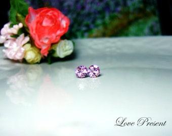 Swarovski Crystal Petite Stud Earrings Post - Minimal Jewelry - Color Light Amethyst - Hypoallergenic or Metal post - Choose your post