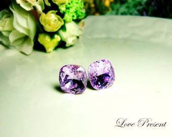 Sparky Supreme Violet Elegant Square Swarovski Crystal earrings stud style