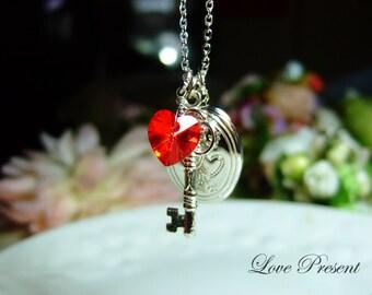 Sweet my heart Locket Necklace with Swarovski Crystal Heart