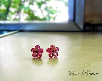 Supreme Swarovski Crystal Stud Daisy Tansy Earrings - Color Light Rose Pink - Hypoallergenic or Metal post - Choose your post