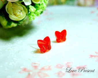 Swarovski Crystal Stud Beautiful Butterfly Earrings - Color Siam Red - Hypoallergenic or Metal post - Choose your post