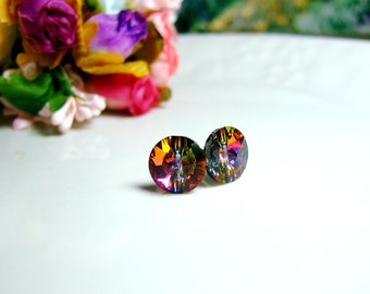 Supreme Swarovski Crystal Stud Button Chic Earrings - Pefect Gift. Everyday Jewelry - Color Volcano - Red/Purple/Yellow/Green/Volcano shine
