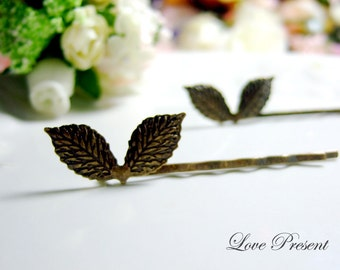 The Leaf bobby pin Antique Down art nouveau vintage style - Color Anti Brass or Silver - Choose your color