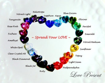 Swarovski Crystal Dangle & Chandelier Heart Earrings - Rainbow color option for you
