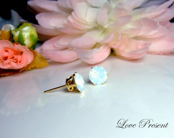 Black Friday Swarovski Crystal Milky Opal earrings stud style GOLD or SILVER Metal Post - Choose your color