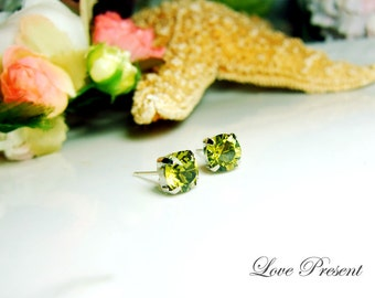 Swarovski Crystal Stud Typical 0.5 Carat Pierced Earrings - Bridesmaid Gift. Simple Modern Jewelry - Color Olivine