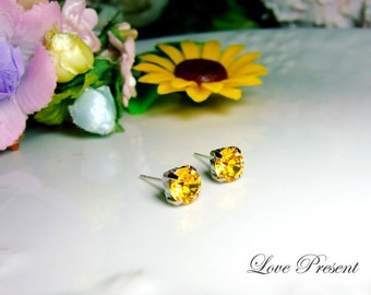 Swarovski Crystal Stud Typical 1 Carat Pierced Earrings - Bridesmaid Gift. Simple Modern Jewelry - Color Sun Flower