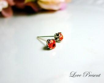 Christmas 30% OFF - Classic Glamour Swarovski Crystal Mini earrings stud style (custom made) - Color Fireopal