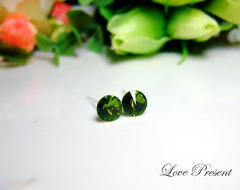 SALE Swarovski Crystal Stud Petite Button Cartilage Earrings - Color Olivine - Hypoallergenic or Metal post - Choose your post