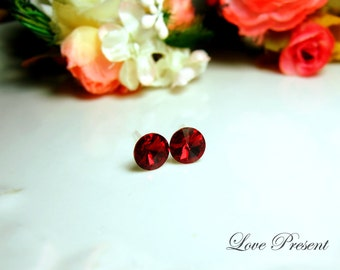 Swarovski Crystal Stud Petite Button Cartilage Earrings - Color Ruby - Hypoallergenic or Metal post - Choose your post