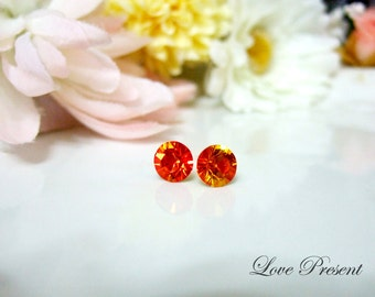 Swarovski Crystal Birth Stone Stud Earrings Post - Color Fire Opal - Hypoallergenic or Metal post - Choose your post