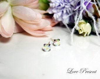 Swarovski Crystal Cartilage earrings stud style (Metal post)  - Color Rainbow Aurore Boreale
