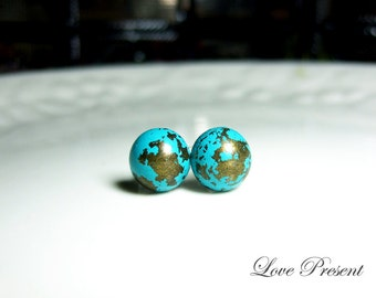 Grand Rock N Roll and Punk Round earrings stud style - Color Turquoise Teal Blue Patina Verdigris