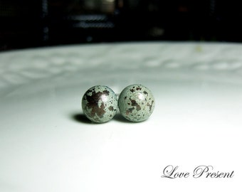 Grand Rock N Roll and Punk Round earrings stud style - Color Dirty Grey Patina Verdigris
