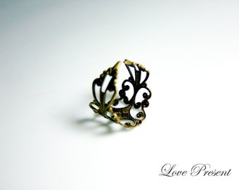 Black Friday Vintage Antique Victorian Adjustable Size Ring - Color Silver/Gold/Anti Brass - Choose your color