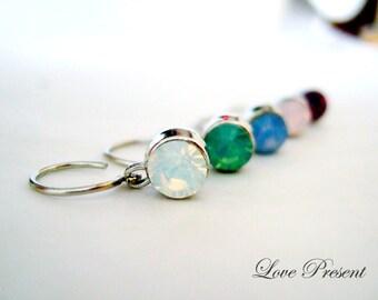 Opal Dream Personallized Swarovski Crystal Hoop Dangle Drop Earrings - White,Rosewater,Pacific Green, Air Blue Opal and Purple