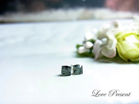 Swarovski Crystal Stud Tiny Teeny Square Cartilage Earrings - Color Black Diamond - Hypoallergenic or Metal post - Choose your post