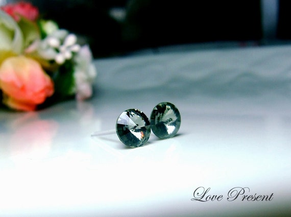 Swarovski Crystal Stud Petite Button Cartilage Earrings - Color Black Grey - Hypoallergenic or Metal post - Choose your post