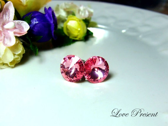 PIF - Swarovski Crystal Stud Tiny Button Cartilage Earrings - Color Rose Pink - Hypoallergenic or Metal post - Choose your post