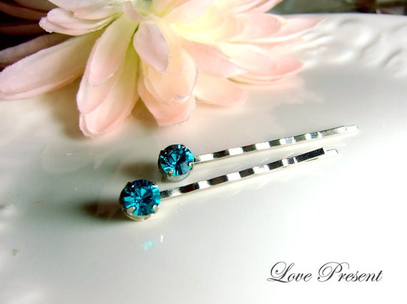 1 Pair (2Pcs) - Classic Hair Bobby Pin with Swarovski Crystal (Custom Made) - Special Love Sales - Summer Color
