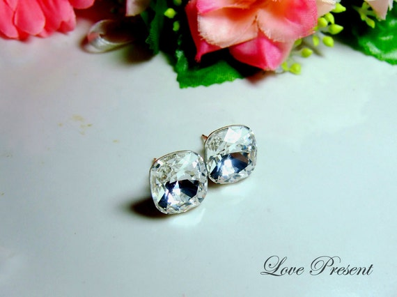 Bridemaids Earrings - Swarovski Crystal Square Post Earrings - Color Clear Crystal - Hypoallergenic or Metal post - Choose your post
